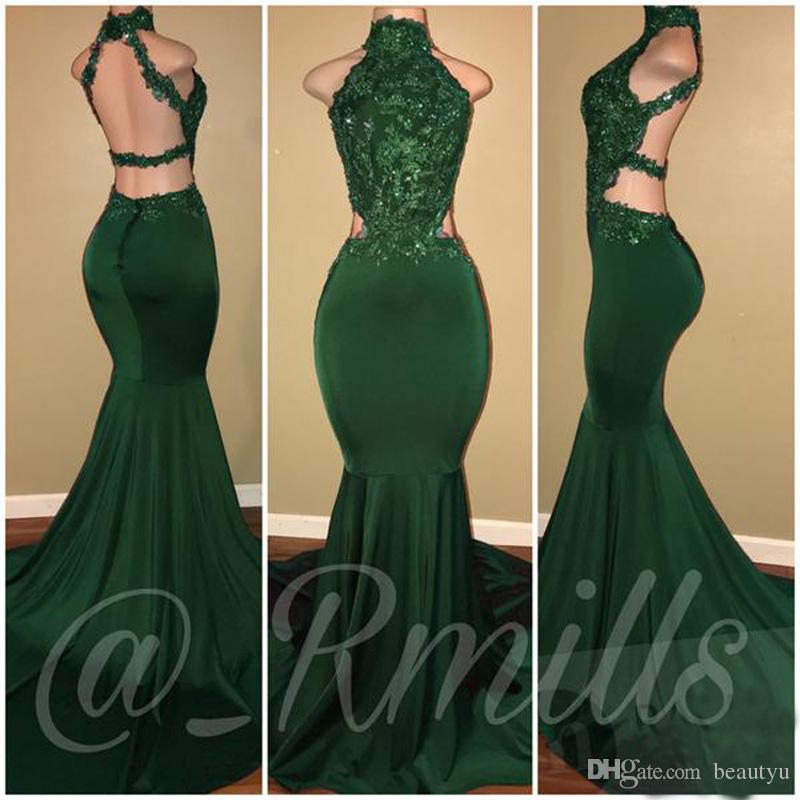 Sexy Dark Purple Mermaid Evening Dresses 2018 New Lace Top Halter Backless Long Prom Gowns Special Occasion Formal Wear Custom Made