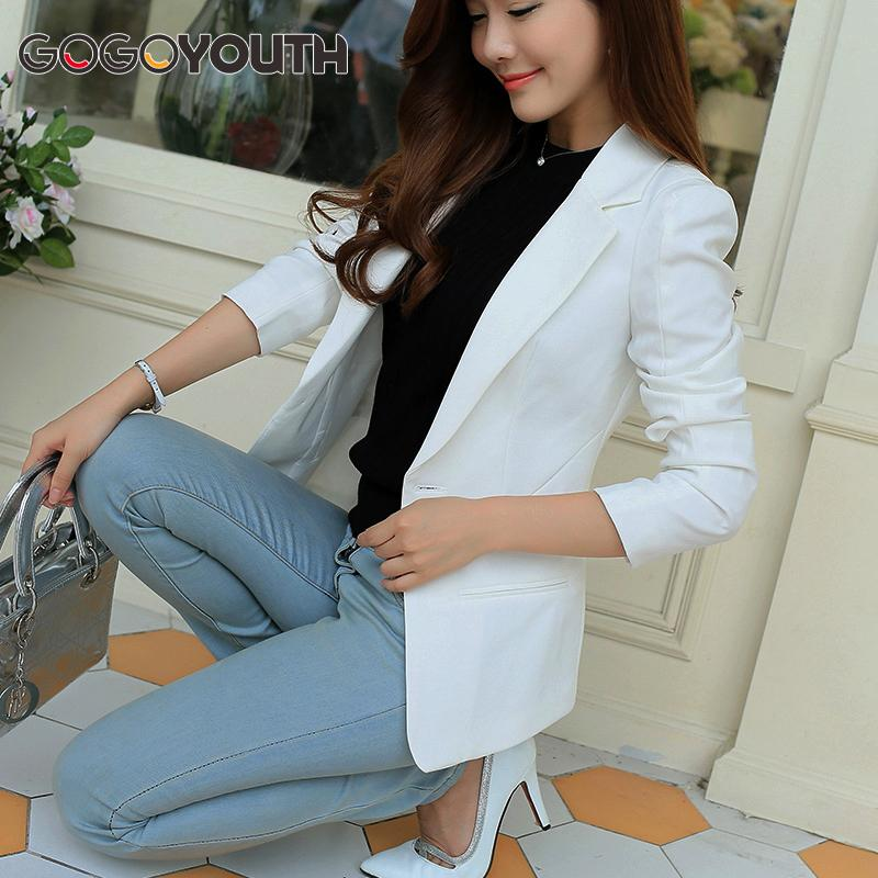2f52ac8e59e Gogoyouth Ladies Blazer 2018 Long Sleeve Blaser Women Suit jacket Female  Feminine Blazer Femme Pink Blue White Black Blazer