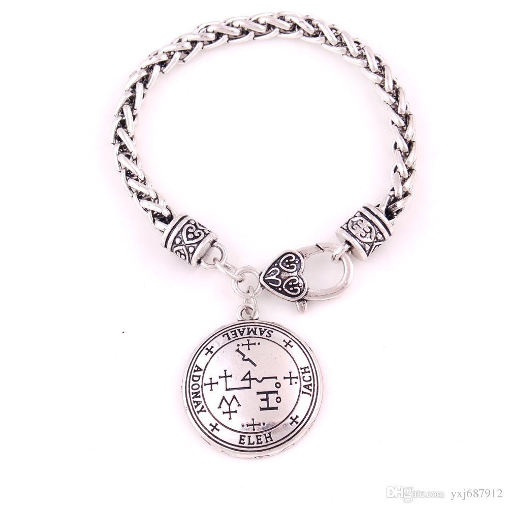 Sigil of Archangel Samael Enochian Talisman Amulet Angel Jewelry Wheat  Leather Chain Vintage Jewelry For Men
