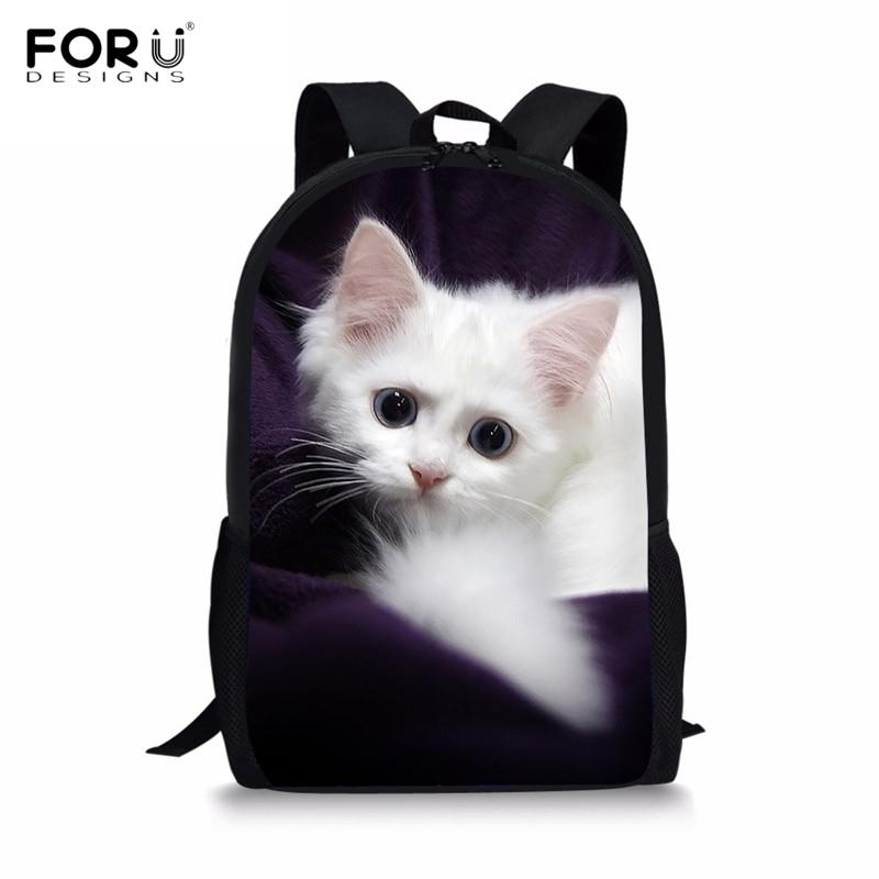 29cb3f861a FORUDESIGNS Cute 3D Cat Kitten Print Children School Bags For Boys Girls  Casual Large Lap Top Backpacks Primary Students Satchel Y18100805 Girls  Backpack ...
