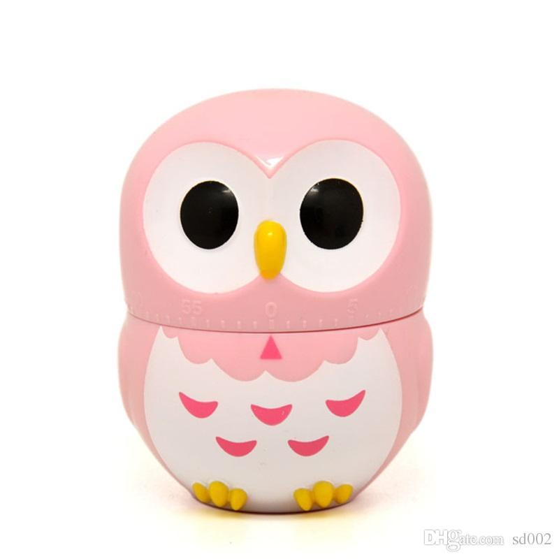 Belle plastique réveil 60 minutes minuteries mécaniques Cartoon Owl forme cuisine minuterie Multi couleur 6 66yy C R