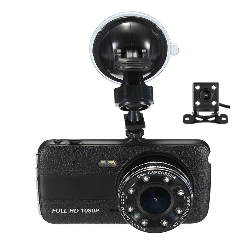 "1080P full HD car DVR recorder 4"" IPS screen 170° view angle starlight night vision 2Ch dual cams parking monitor motion detection G-sensor"