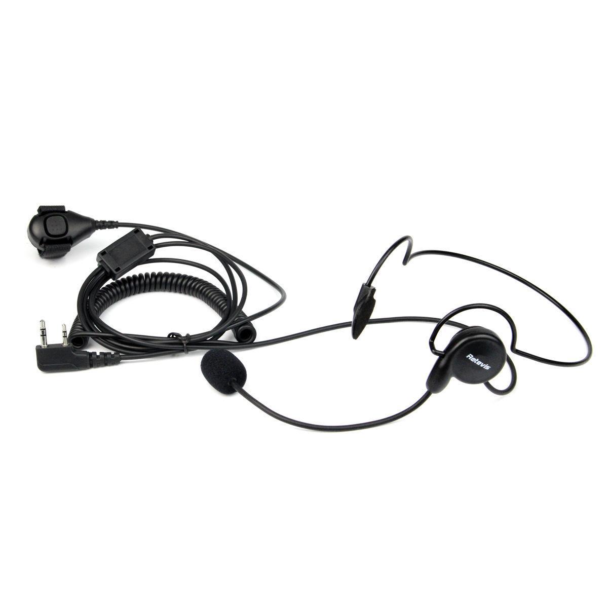 100X2Pin Earpiece Mic Finger PTT Headset for Kenwood BAOFENG WOUXUN 2-WAY Radio
