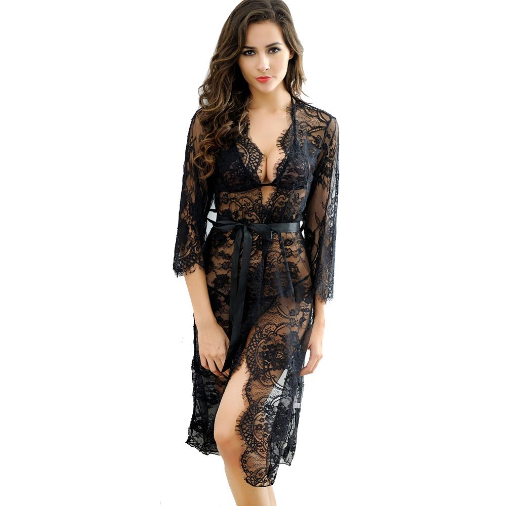 Nuit Sexy Transparent Robe Acheter Kimono De Dentelle HYFwq16