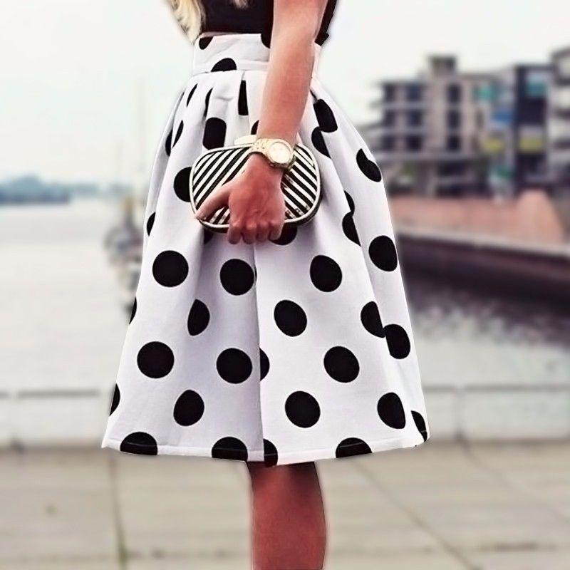 5acc80c56fa2 Acheter 2018 Nouvelle AutomneWinter Casual Noir Pois Imprimer Plissée Midi Jupe  Patineuse Taille Haute Jupe Saia Pour Femmes Fille HigH Qualité De  25.1 Du  ...