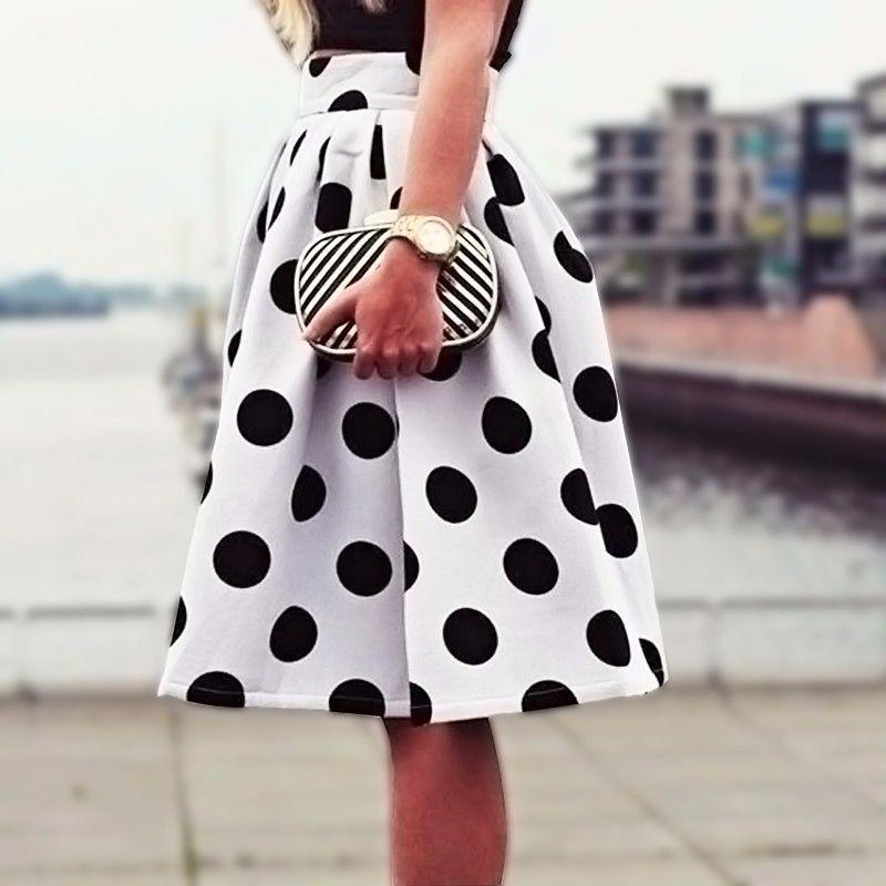 f2459e9a7e 2019 2019 New Autumn&Winter Casual Black Dots Print Pleated Midi ...