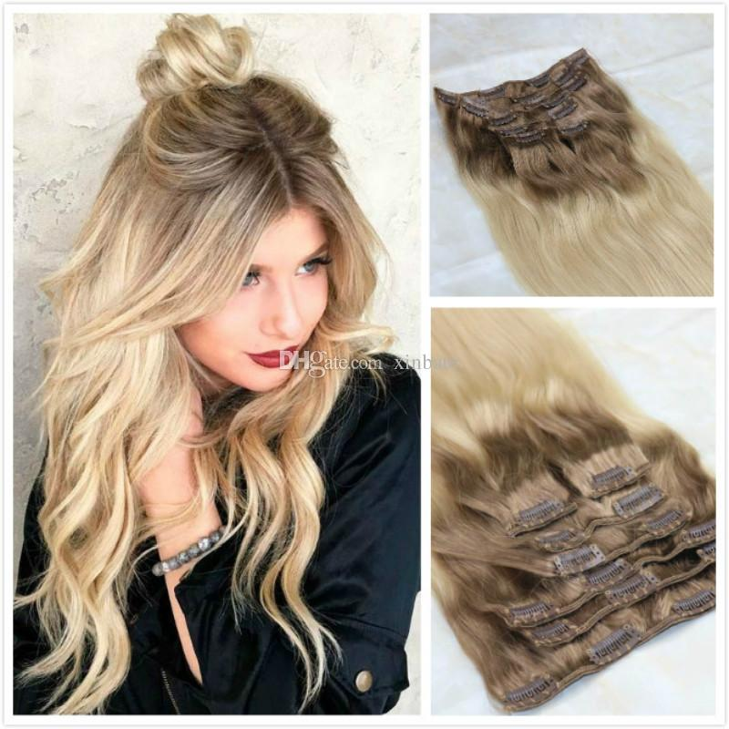 Brazilian Human Hair Extensions Blonde Highlights Remy Clip In Human