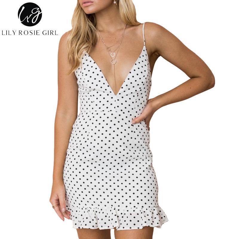 880fedd850989 Lily Rosie Girl Sexy V Neck Polka Dot Women Mini Dresses 2018 Summer  Sleeveless Ruffles White Dress Beach Backless Short Vestido