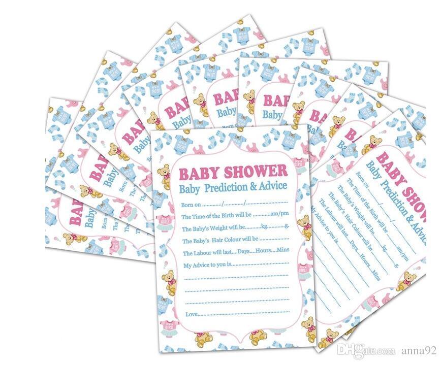 Compre Baby Shower Tarjeta Prediccion Consejos Juego De Recuerdos