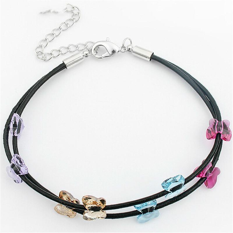 fe5f7c047193 Cristal de Swarovski Elements Pulseras del encanto Mariposa Negro Cuerda de  cuero Cadena Para Mujeres Joyería de moda Vintage 165
