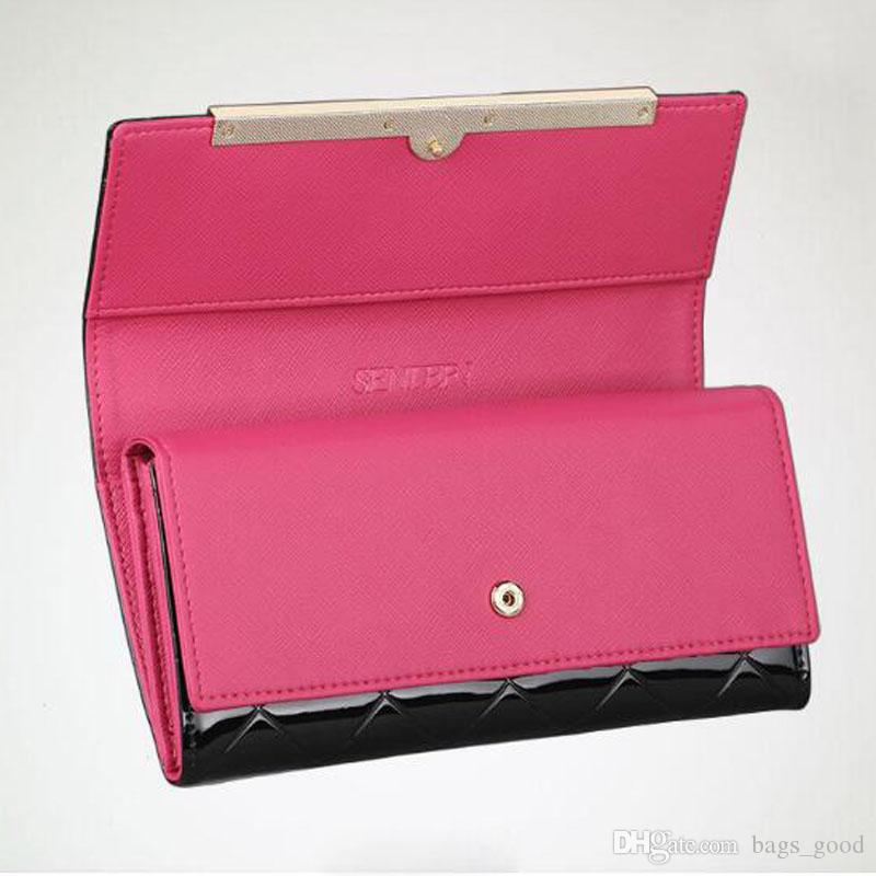 Women's Wallets Women genuine Leather Wallet Luxury Design Ladies Party Clutch Patent Leather Purses Long Card Holder