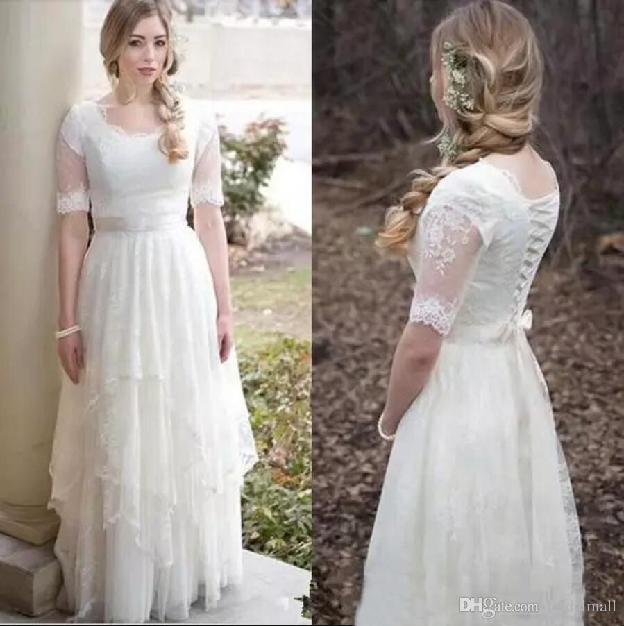 Simple Design Scoop Neck Long Sleeve Long A Line Tulle: Discount Modest Boho Wedding Dresses With Half Sleeves