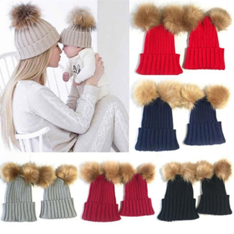Cute Winter Hats For Women Faux Fur Two Pom Pom Hat Lovely Kids Knitted  Beanie Girls Cap Skullies Beanies Warm Caps Parent Child Funny Hats  Baseball Hat ... 25d47995a