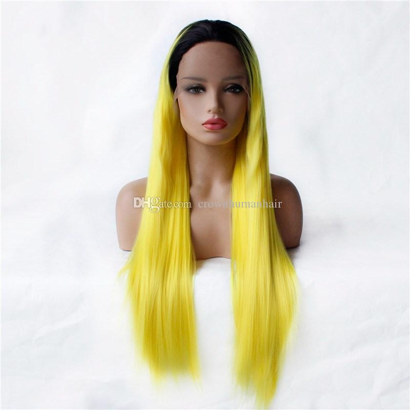 Ombre Yellow Synthetic Lace Front Wigs Two