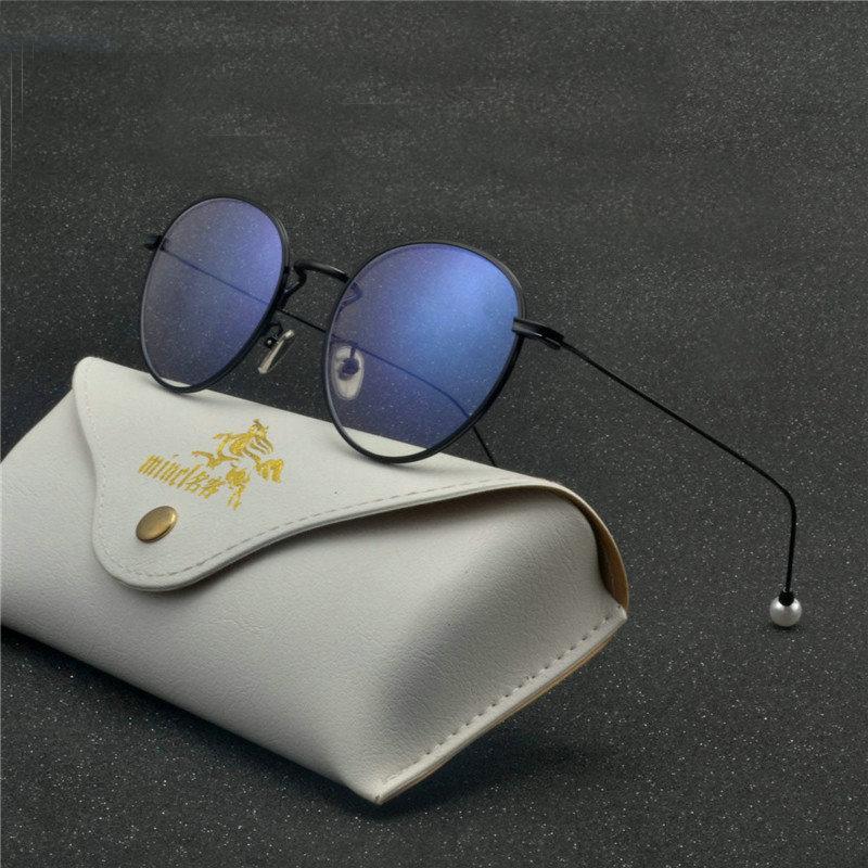 d8d0122bf329 Retro Round Gold Black Optical Frames Clear Lens Eyeglasses Female ...
