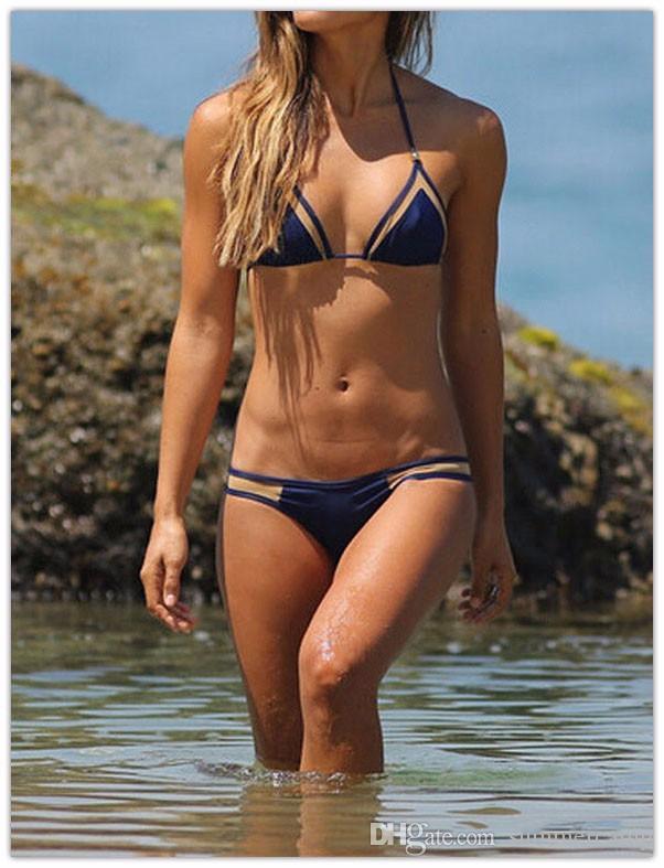 Traje de verano SEXY Bikini de triangulación Traje de baño de color puro Vestido de verano de granadina Traje de baño blanco negro azul Estilo europeo y americano