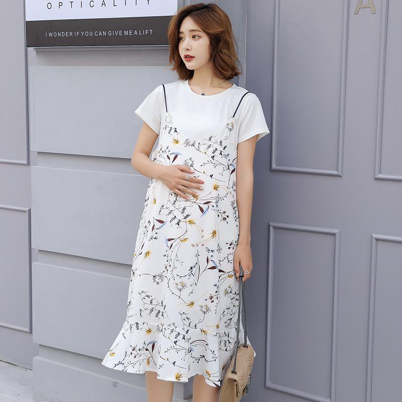 bc0367a3cd8b7 2019 Summer Plus Size Clothes For Pregnant Women EleLong Dress Sling Beach  Stlye Maternity Dresses+Tee Tops Clothing From Ferdimand, $33.53 |  DHgate.Com