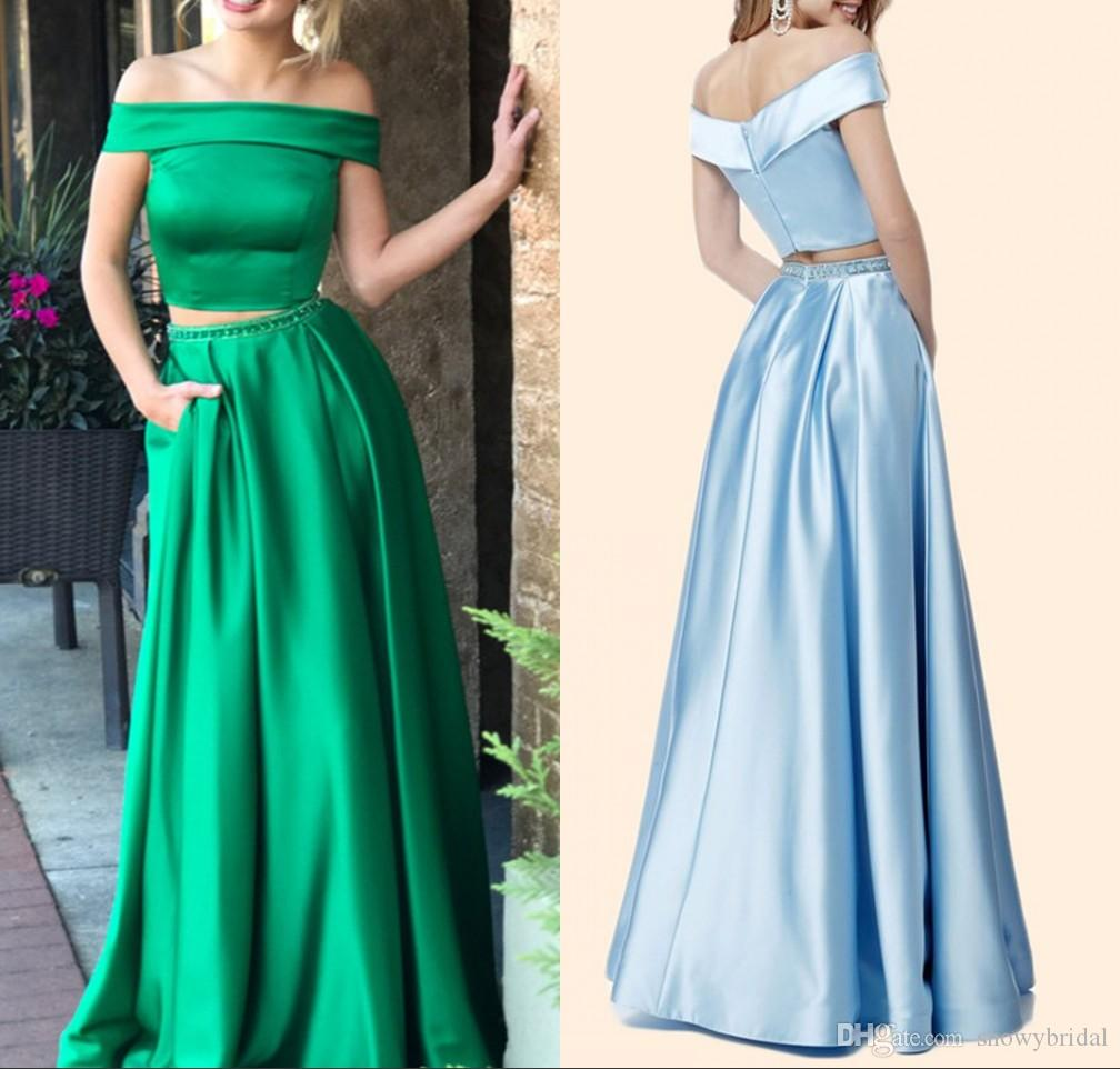 Green Satin A-line Two Pieces Long Prom Dresses 2018 Off the Shoulder Beaded Waist Teens Formal New 2k18 Prom Party Dress Custom Made