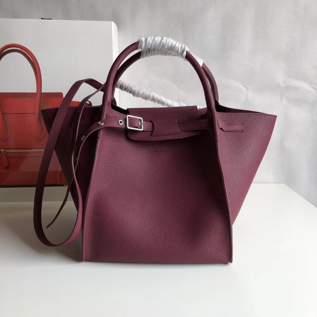 d9649911f2 Big Bag 24 22 26cm Maroon Deep Red Calfskin Small Bull Leather Burgundy  Handbag Women S Handbags Lady Girl S Fashion Luxury Shoulder Bags Jo Totes  Discount ...