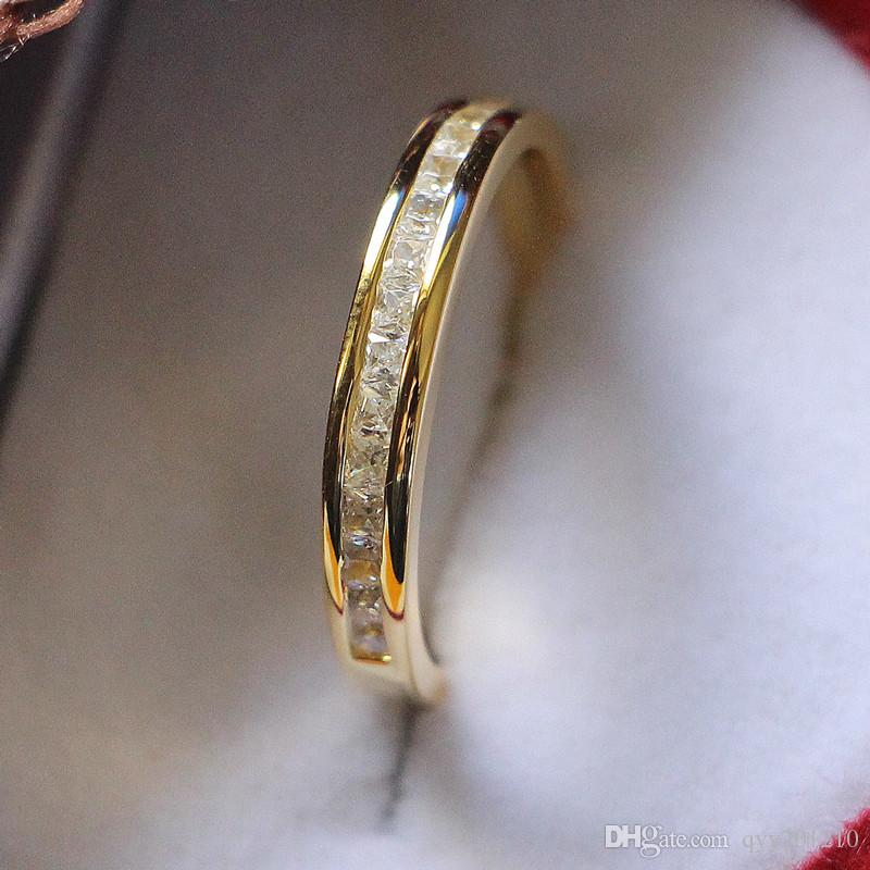 Sterling Silver Jewelry Yellow Gold Color Small Princess Cut Stones Micro Paved Synthetic Diamonds Female Wedding Band Ring