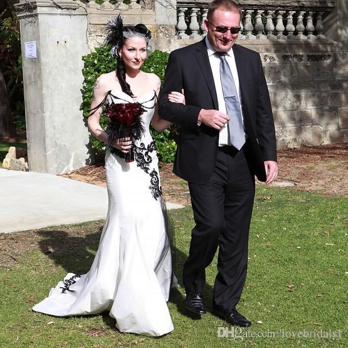 2019 élégantes robes de mariée sirène gothique chic avec noir applique perlage robe de mariée en satin jardin longues robes de mariée