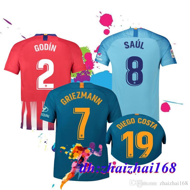2018 Calidad Tailandesa Atlético De Madrid Local Visitante Tercera Camiseta  De Fútbol 18 19 GRIEZMANNKOKE SAUL DIEGO COSTA TORRES GODIN CORREA 2019  Camiseta ... dda2928b5394a