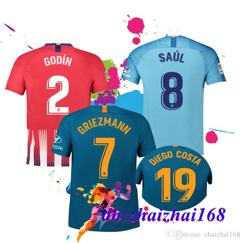 ee302084632 2019 2018 Thai Quality Atletico Madrid Home Away 3rd Soccer Jersey 18 19  GRIEZMANNKOKE SAUL DIEGO COSTA TORRES GODIN CORREA 2019 Football Shirt From  ...