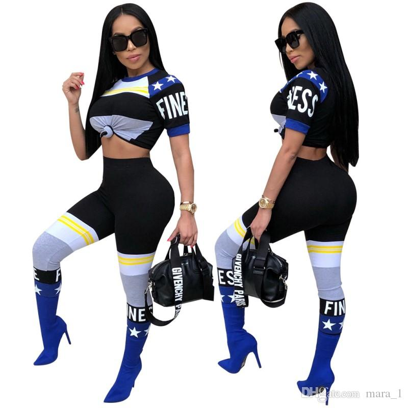 Frauen Sommer Sexy Club Activewear Stretchy Outfits Trendy Hosen T-Shirts Sport Sets Drucken Brief Crop Top Leggings Casual Sportswear