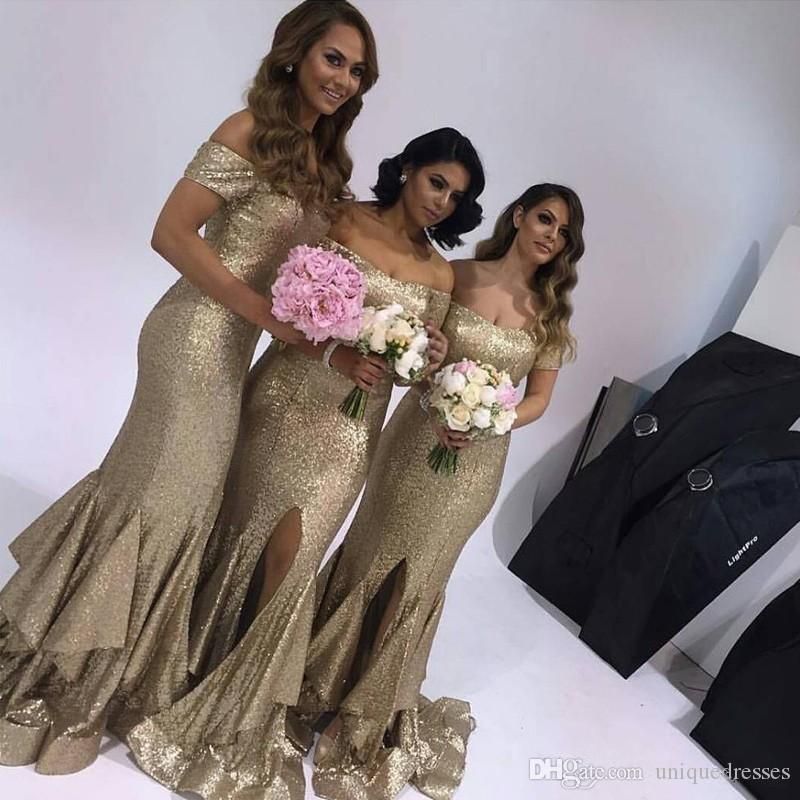 Seksi Altın Payetli Gelinlik Modelleri Kapalı Omuz Uzun Yarık Onur Hizmetçi Nedime Elbise Balo Abiye