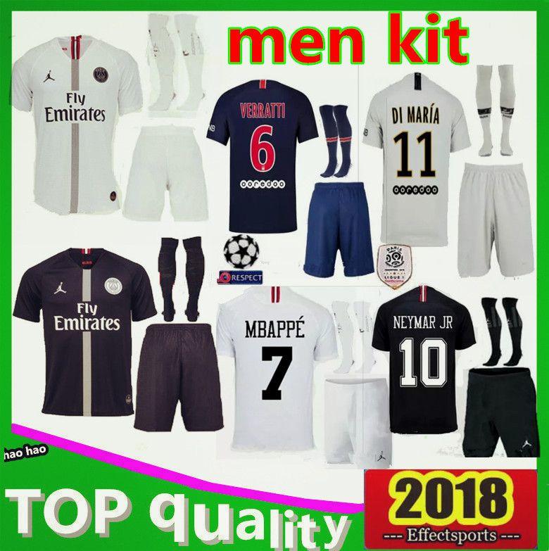 Champions League White Black PSG Soccer Jersey 2018 2019 Paris MBAPPE CAVANI  VERRATTI KIMPEMBE Men Kit Football Shirt Soccer Jersey Online with   23.66 Piece ... d3cb3b520