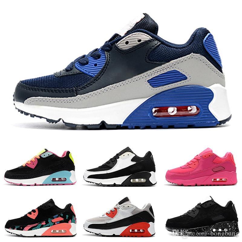 online store ef1c5 788b7 Acheter Nike Air Max 90 Chaussures Enfants Enfants Classique 90 Vt Garçons  Et Filles Chaussures De Course Noir Rouge Blanc Sports Trainer Coussin  Surface ...