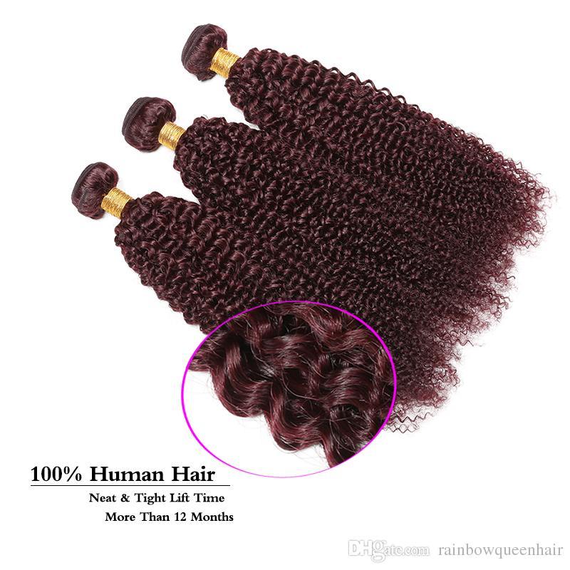 99J Bundles de cheveux péruviens crépus bouclés weaves fermeture Bourgogne couleur cheveux malaisiens Bundles Afro crépus bouclés avec 4 * 4 fermeture extension de cheveux