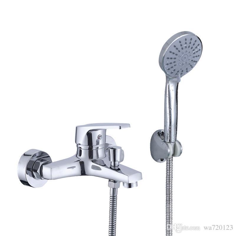 2018 Brass Bathtub Faucet Mixer Wall Mounted Shower Tap & Hand ...