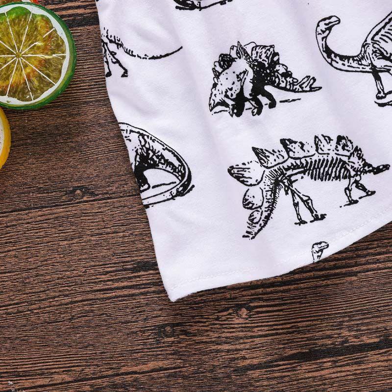 2018 Nueva Niña Vestidos de Dinosaurio Animal Impreso Halter Algodón Vestido Cruzado Verano Ropa para niños 6M-3T Envío Gratis Z11