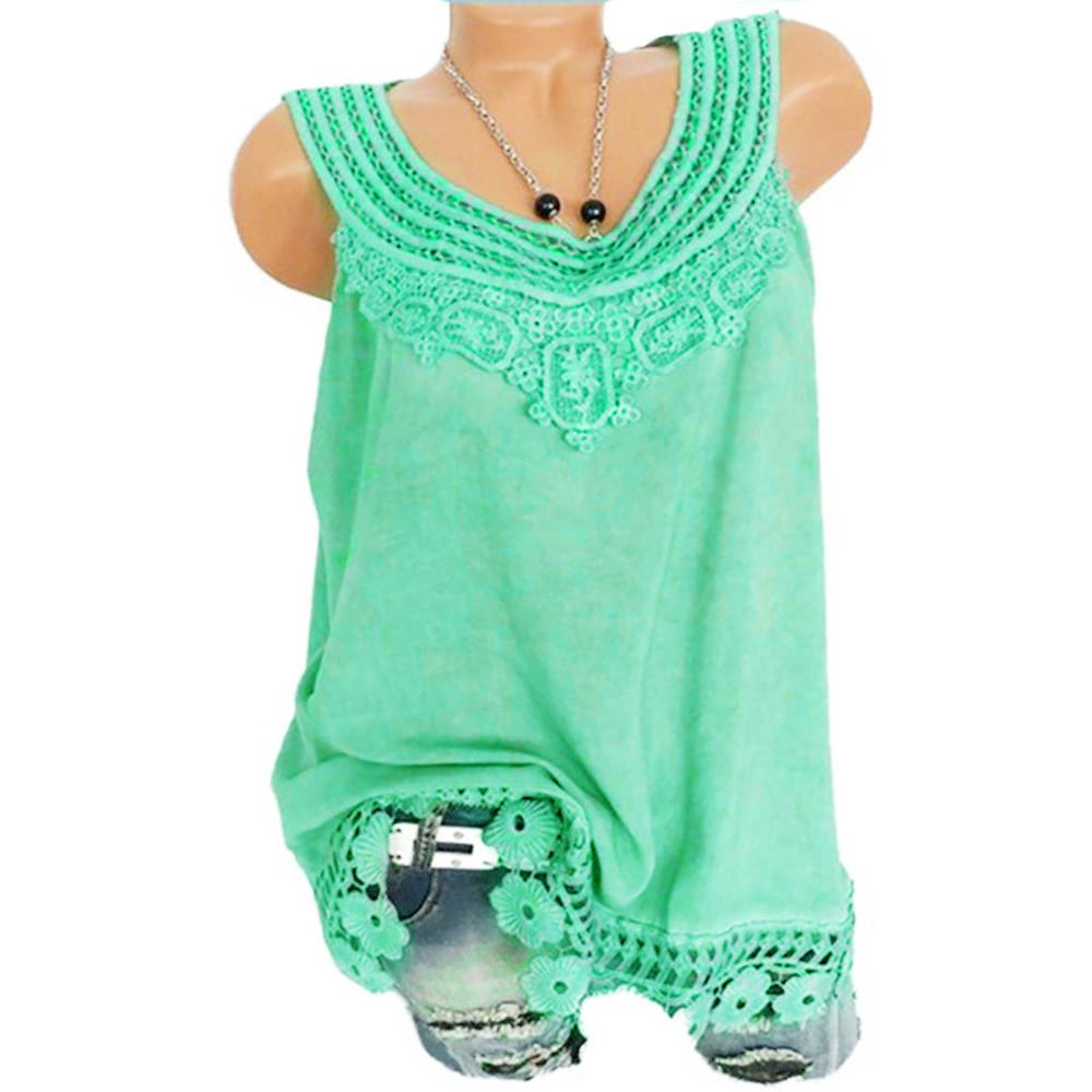 634984d586f27 Women Summer Spring Plus Size O Neck Sleeveless Pure Color Lace Vest Tops  Loose T Shirt Blouse Tank Tops Drop Shipping UK 2019 From Jellwaygood