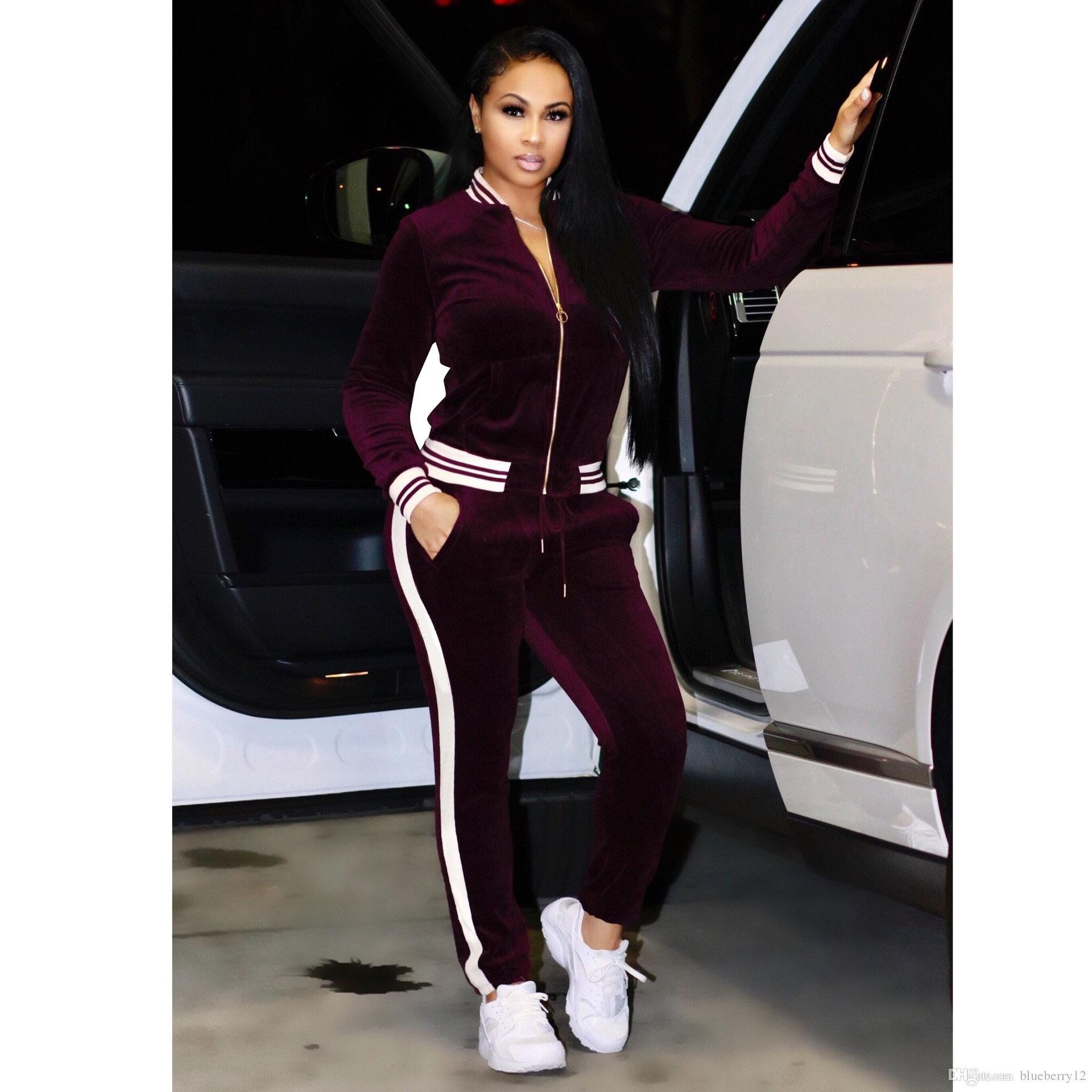 كبير الحجم رياضة المرأة ملابس حامل الياقة رياضية مثير النساء بدلة عادية زيبر البلوز مع بانت الركض محدد