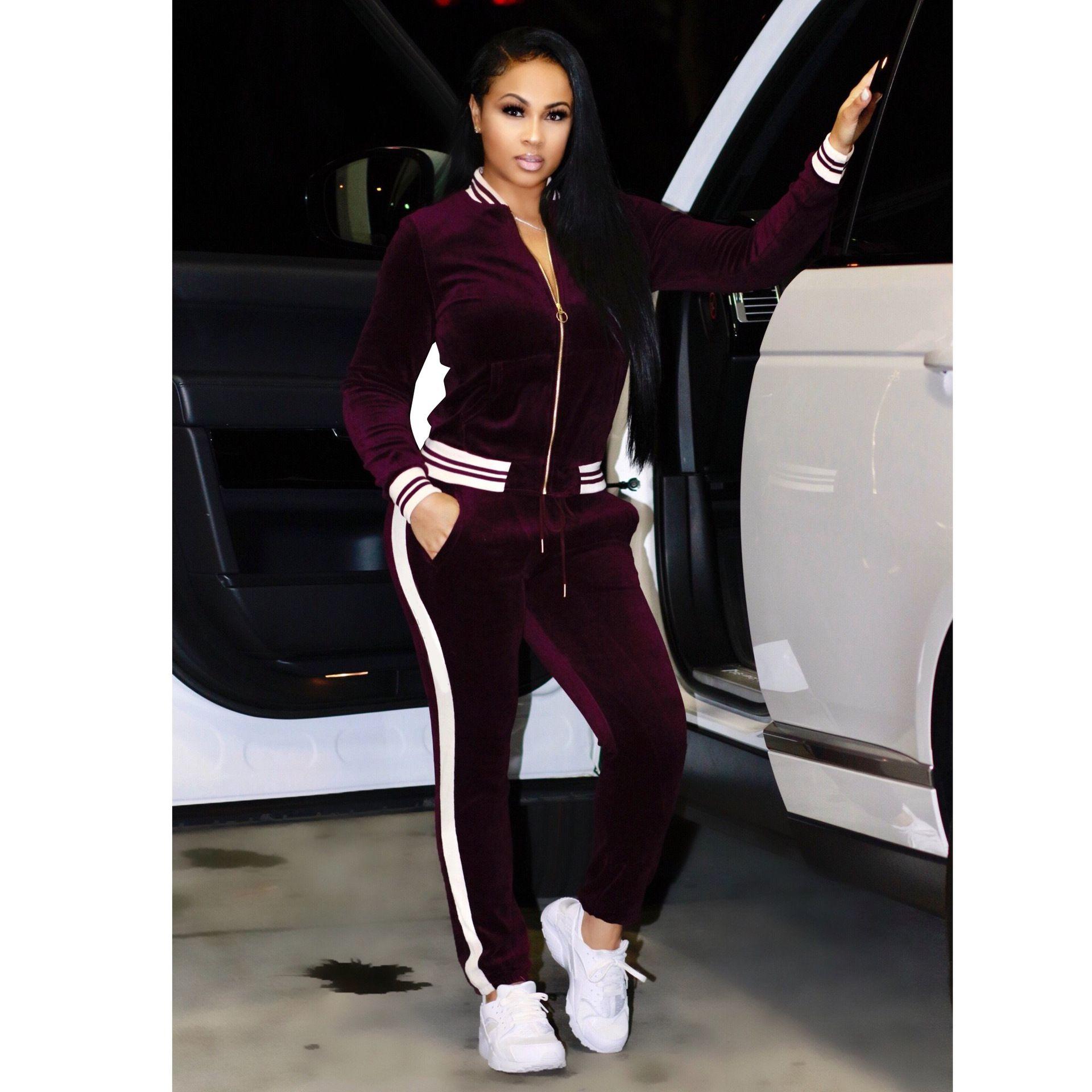 Große größe frauen sportbekleidung stehkragen trainingsanzüge sexy frauen casual anzug reißverschluss pullover mit hose joggen 2 stück set