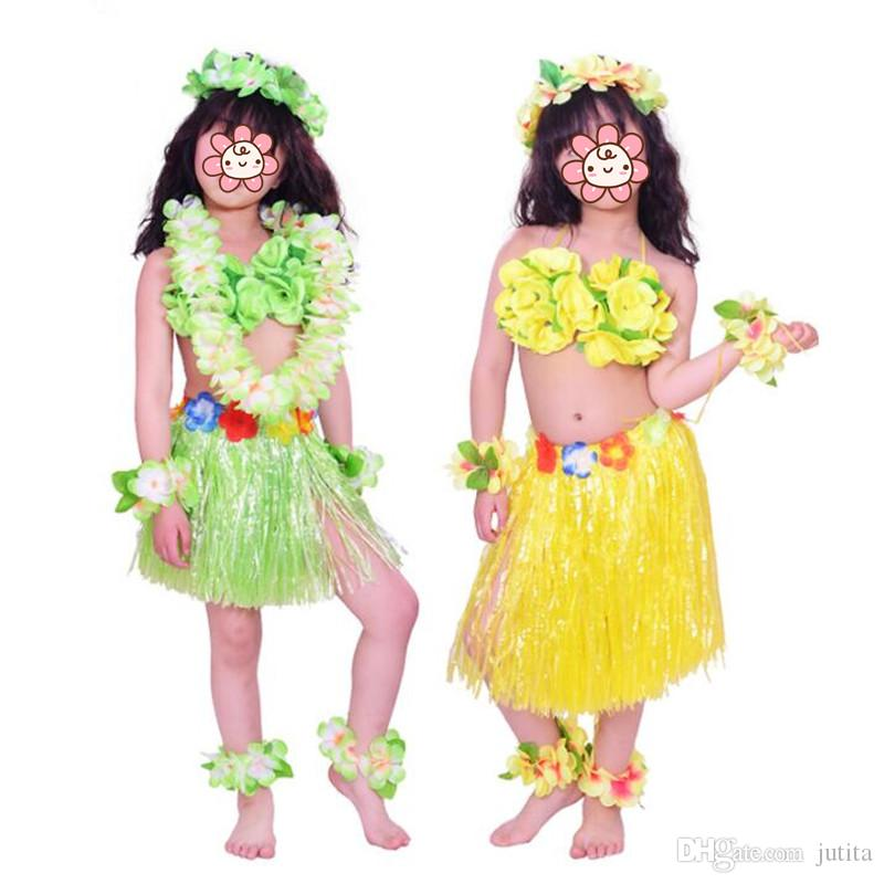 f34c8bf9d260 2019 Hawaii Flower Lei Headband Garland Wreath Hula Grass Skirt Wristbands  Bra Kids Girls Costume Set Beach Tropical Party Decor From Jutita, ...