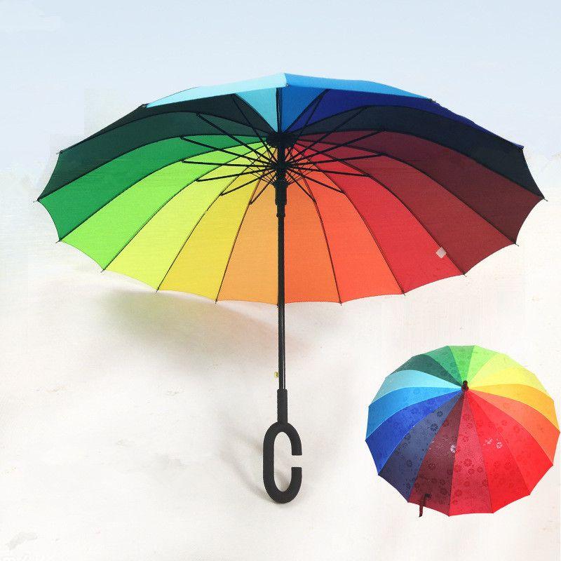 386f3eda83ef8 2019 Rainbow Umbrella Rain Women And Men Long C G Handle Folding Umbrellas  Golf Windproof Parasol Gift Magic Changing Color From Olgar, $26.72 |  DHgate.Com