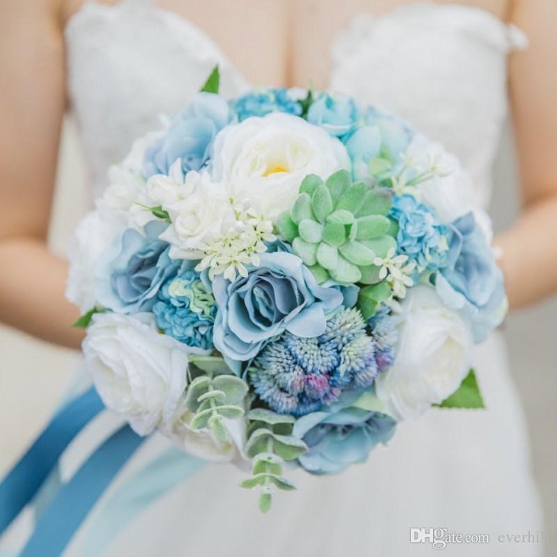 Acheter Janevini 2018 Bouquets De Mariee Artificielle Fleurs Bleues Bouquet De Mariage Mariage Plage Roses Broche Trouw Boeket Bouquet De Mariage Bleu