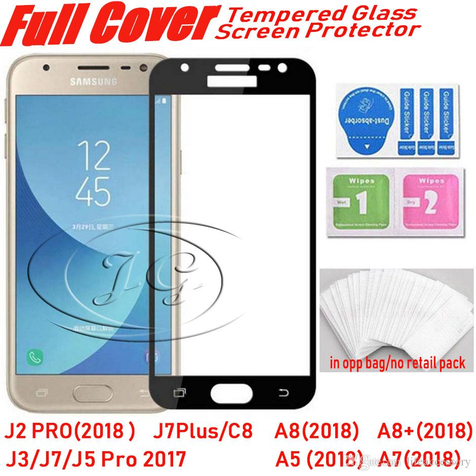 Full Cover Tempered Glass Phone Screen Protector For Samsung Galaxy J5 Pro J2 2018 A5 A530 A7 A730 A8 A830 Plus Non Glare