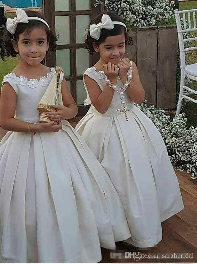 b9aeab3ea 2018 Adorable Satin Ivory Flower Girl Dresses For Wedding Party Ball Gown  Lace Up Back Kids Holy First Communion Gowns Joan Calabrese Flower Girl  Dresses ...