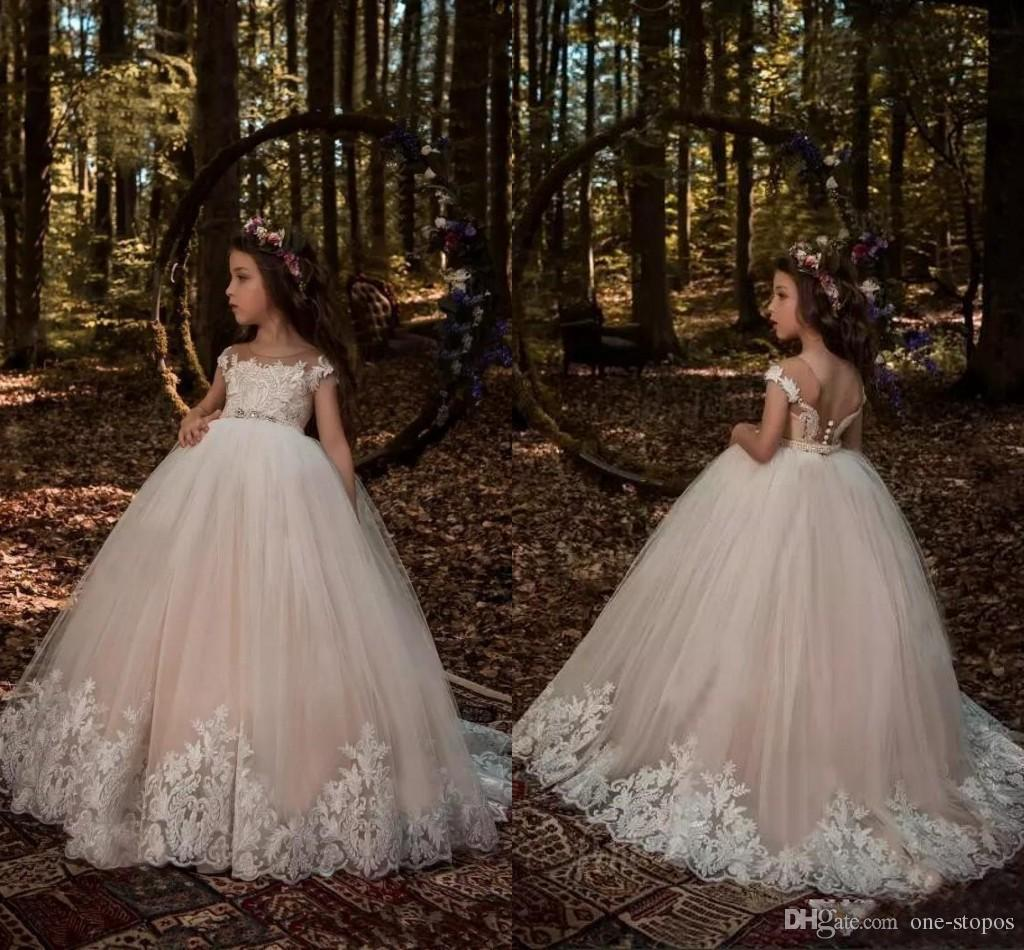 a9e4b843db9 Lovely Cap Sleeves Flower Girls Dresses 2018 Light Champagne Ball Gown  Tulle With White Lace Appliqued Beaded Sash Girls Pageant Wear Dresses  Flower Girl ...