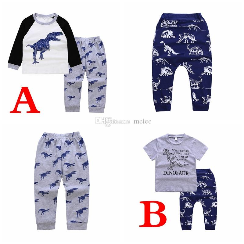 e49addc5c New Kids Cotton Dinosaur Print Outfits Children Long Short Sleeved ...