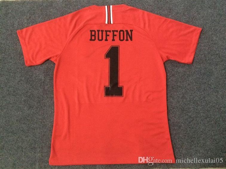 267c5e469ba 18 19 Buffon Soccer Jerseys 2018 2019 Goalkeeper AREOLA Football Shirts  PARIS Red Green Sports Wears Goalie Football Tops For Men
