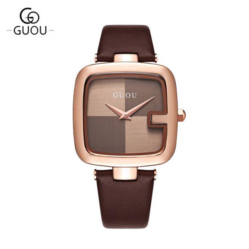 Compre GUOU 2018 Das Mulheres Relógios Quadrados De Moda Montre Femme  Senhoras De Luxo Pulseira Relógios Para As Mulheres Pulseira De Couro  Relógio ... f1af2d0072