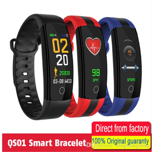 5b6cdd9fb7b3 QS01 Smart Pulsera Reloj Deportivo Fitness Tracker Presión Arterial Monitor  De Ritmo Cardíaco Smartwatch IP67 Impermeable Smart Wristband Smart Fit  Bands ...