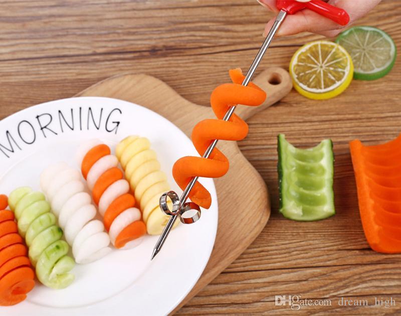 Ручной спиральный винт Slicer пластиковые PP + стальной проволоки картофель морковь огурец Овощи спиральный нож резьба инструмент