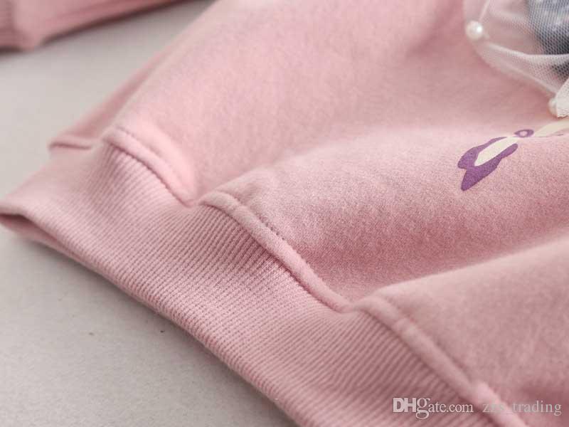 Sweat à capuche pour filles 2017 Automne Fille Manteau Bande Dessinée Outwear Bébé Enfants Vêtements enfants Veste Épaississement Il y a 3 couleurs