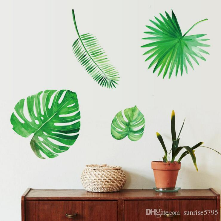 Green Leaf Wall Sticker Tropical Plant Room Decoration Nordic Summer